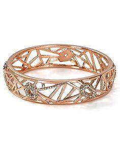 $150 New Alexis Bittar Rose Gold Delano Deco Bangle Bracelet