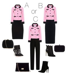 """""""Which one is your style A B or C"""" by kimberlydalessandro ❤ liked on Polyvore featuring 10 Crosby Derek Lam, Maison Margiela, Moschino, Manolo Blahnik, Rebecca Minkoff, Lanvin, Serpui, Rodo and ALDO"""