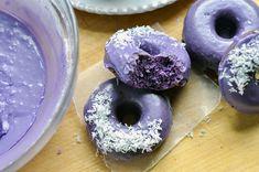 Ube Donuts with Coconut Glaze_CU bite set Ube Recipes, Baked Donut Recipes, Baked Donuts, Dozen Donuts, Dessert Recipes, Doughnuts, Coconut Donut Recipe, Coconut Milk, Recipes