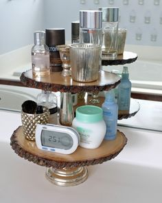 Rustic glam tray with thrift store serving tray and wood slabs from craft store