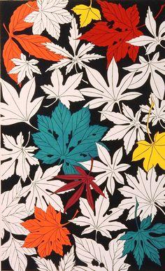"""ukiyoecosmos: """" 1939, The Japanese original antique woodcut print, """"maple"""", from """"Shiki Kaki moyo"""" """""""