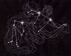 The stars that make up Aquarius overlay a geometric illustration of the constellation.