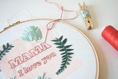 Mothers Day botanical embroidery by Gidsy and Jo