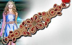 Soutache ceinture, ceinture, bracelet, or, rouge, robe de soirée, soutache, accessoires, fait main, broderie, FREE SHIPPING, 5 % de réduction