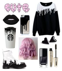 """""""Slime-"""" by weird-kitten ❤ liked on Polyvore featuring WithChic, Dr. Martens, Lime Crime and L'Oréal Paris"""