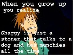 There is some truth to this. When I was younger, I find Shaggy to be funny and hilarious. As I get older, I just find Shaggy a guy who never grows up and keeps talking to dogs. And that he always looks stoned.  Yup. The beauty of growing up. Sarcastically speaking of course.