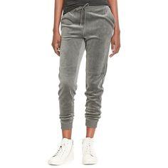 Lauren Ralph Lauren Giovanna Velour Track Pants ($48) ❤ liked on Polyvore featuring activewear, activewear pants, grey ash, lauren ralph lauren, athletic track pants, track pants and athletic sportswear