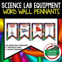 Science Lab Equipment Word Wall Pennants (Science)VISIT MY STORE AND FOLLOW TO GET UPDATES WHEN NEW RESOURCES ARE ADDED This is a Word Wall Set that has 40 words included.  Buy now and save $$$.   Includes 2 to a page banner pennant word wall.  Print two or four to a page, cut, and decorate your room!  2 blanksfor each unit have been included so you can decorate and label your board with the same background theme. 1.