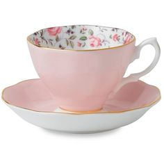 Royal Albert Rose Confetti Formal Vintage Teacup & Saucer Set ($25) ❤ liked on Polyvore featuring home, kitchen & dining, drinkware, fillers, food, kitchen, decor, royal albert tea cup and saucer, royal albert and rose bone china