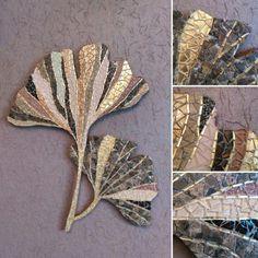 "Mosaic wall hanging ""Ginkgo I"" by artist Julia Gorbunova"