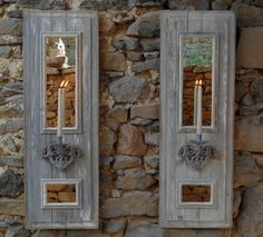 Home DIY Projects Shutter Panel Sconces. For more shutter DIY projects, go to http://decoratingfiles.com/2012/08/home-diy-projects-using-shutters/