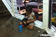 Thanks to stop-human-trafficking.... Child begging at BTS station in Bangkok, forced by organized criminals.Rather give them food then money.