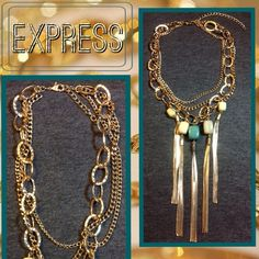 Express Multi Layered Necklace Gold Tone Multi Layered Chain with Shingle and Bead Fringing. Aqua and Yellow Beading. TAGS WERE REMOVED, BUT NEW AND NEVER WORN ✔️ PRICE REFLECT THE MISSING TAG. ❌❌NO TRADES❌❌ Express Jewelry Necklaces