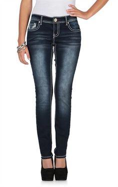 ariya curvy skinny jean in dark blasted wash with embroidery