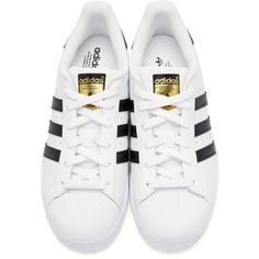 newest 6c272 dccae adidas Originals White Superstar Sneakers (1.665 UYU) ❤ liked on Polyvore  featuring shoes, sneakers, leather shoes, white trainers, laced up shoes,  ...