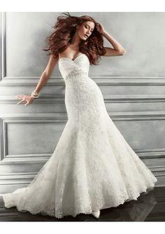 Bride most like Lace Silk Mermaid Strapless Wedding Dress with Chapel train