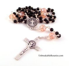 St Benedict rosary beads in black onyx and pink Czech glass. www.UnbreakableRosaries.com