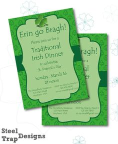 Customized Printable St. Patrick's Day Dinner Invitation (with optional coordinating Napkin RIngs and Place Cards) by SteelTrapDesigns, $5.00