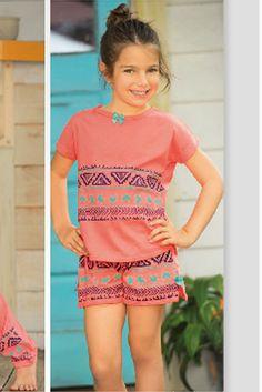 Pijama manga corta short Ref: 1657 Tallas: 2, 4, 6, 8, 12,14,16 Colores: coral neón, limón brillante, confite