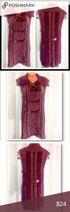 """Style & Co Wine Knit Sweater Vest Large EUC Like new! EUC. Plum and cream three button knit sweater vest. Style & Co. Size Large. No issues, no pilling. Bust 20"""" across. Has stretch. Length from shoulder to hem is 31"""".                                  🔹Please ask all questions before you purchase! I'm happy to help! 🔹No trades or holds, but I happily consider offers via the Offer Button! 🔹Bundle for best prices. Use bundle button feature or ask for custom bundle! Style & Co Jackets…"""