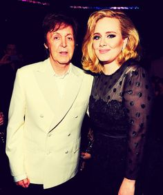 Adele and Sir Paul McCartney at the 2012 Grammy Awards