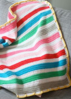 Easy Crochet Striped Baby Blanket Pattern by casapinka on Etsy, $5.00