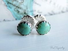 Turquoise Stud Earrings Sterling SIlver & 6mm Blue by RusTiqueAge