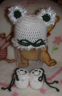 Baby St Patricks Day Crochet Furry Bear Hat by TJsCrochetCreations