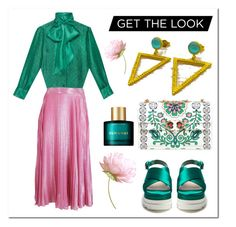"""""""Maxi Skirt Green Pink - Evangelos Jewellery"""" by evanangel ❤ liked on Polyvore featuring Tory Burch, Gucci, Miu Miu and Karen Walker"""