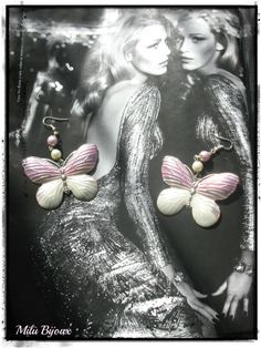 Butterflies in enamel white and pink