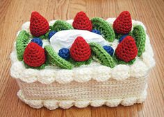 Chiffon Cake with Fruit Topping Tissue Box Cozy (Crochet)