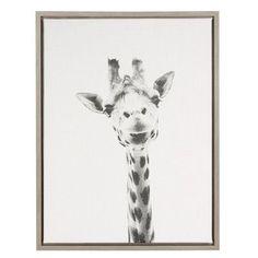DSOV Sylvie 'Giraffe Black and White Portrait' by Simon Te Tai Framed Photographic Print on Wrapped Canvas