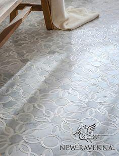 New Ravenna - Studio Line - Lillet handmade mosaic in polished Carrara and Calacatta Tia Cocina Shabby Chic, Shabby Chic Kitchen, Marble Bathroom Floor, Small Bathroom, Master Bathroom, Bathroom Flooring, Bathroom Fixtures, Marble Mosaic, Stone Mosaic