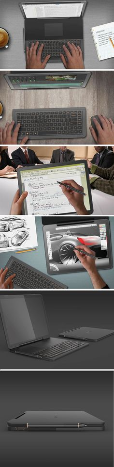 Designed to be used in a wide variety of configurations, from a laptop, to a tablet, to a workstation tablet, to a desktop, the Upside Down concept computer comes with a 360° hinge, a touchscreen, and a track-pad with a detachable keyboard beneath it.
