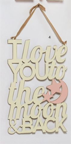 This would be so precious in my little girl's nursery! I love you to the Moon & Back Word Art Hanger | Baby | Mud Pie
