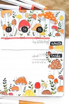 Check out the best mushroom themed bullet journal spreads and ideas for inspiration! Bullet Journal September, Bullet Journal Agenda, Bullet Journal Quotes, Bullet Journal Writing, Bullet Journal Spread, Bullet Journal Layout, Bullet Journal Inspiration, Bullet Journals, Autumn Bullet Journal