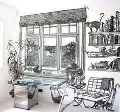 Hand painted walls by Charlotte Mann (more here: http://freshome.com/2011/01/28/incredible-blackwhite-hand-drawn-illusions-by-charlotte-mann/)