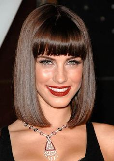 Bob Hairstyles With Bangs Bob hairstyles with bangs vary on the basis of a woman's face cut and her hair texture. Bob hairstyles with bangs. Medium Bob With Bangs, Long Bob Haircut With Bangs, Bobbed Hairstyles With Fringe, Medium Bob Hairstyles, Long Bob Haircuts, Haircuts With Bangs, Hairstyles Haircuts, Medium Hair Styles, Straight Hairstyles