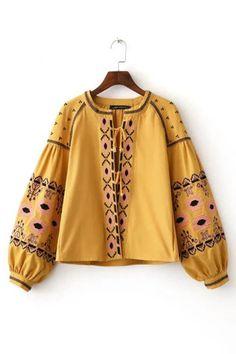 Boho Yellow Drop Shoulder Sleeves Lace-up Details Jacket