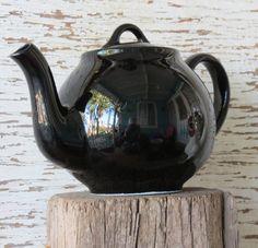 Rare Black Lipton's Teapot Vintage Hall China Company by Decoliner, $22.50