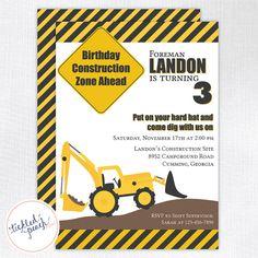 Construction Birthday Party Invitation  by tickledpeachstudio, $15.00