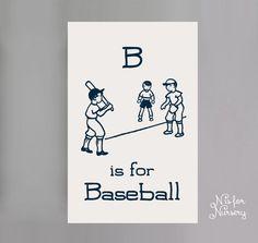 Nursery Wall Art - B is for Baseball Screen Printed Canvas