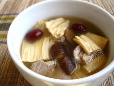 Bean Curd Sticks and Pork Ribs Soup - Certainly my comfort food; I appreciate the warming effect it brings on a cold day… Chinese Pork Soup Recipe, Pork Rib Soup Recipe, Easy Chinese Recipes, Easy Delicious Recipes, Easy Soup Recipes, Pork Recipes, Asian Recipes, Yummy Food, Tasty