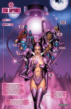 Created by the Zamarons to collect the various emotions of emotional energy spectrum and to spread and protect love throughout the universe in order to promote order and take revenge against males. Carol Ferris reveals to Hal Jordan that during the most recent time the gem possessed her, she gained knowledge of the Star Sapphires: they come from Sector 1416 and comprise a corps known as the Star Sapphires whose purpose is to spread love throughout all 3600 sectors of the universe. The...