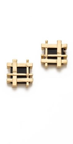 Tory Burch Mini Gingham Earrings | SHOPBOP