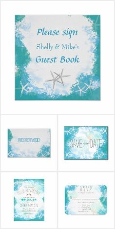 Suite: Under the Sea Wedding Invitation Set. These nautical wedding invitation sets / stationary / suites may include: Wedding invitation cards, wedding envelopes, wedding RSVP Cards, wedding address labels, save the dates, wedding programs, wedding thank you cards, rehearsal dinners and more matching wedding products.