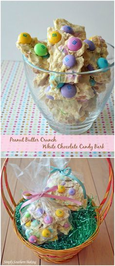 Peanut Butter Crunch White Chocolate Candy Bark - great to put in Easter baskets | Simply Southern Baking
