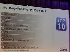 CIO's Tech Priorities for 2016 according to Gartner