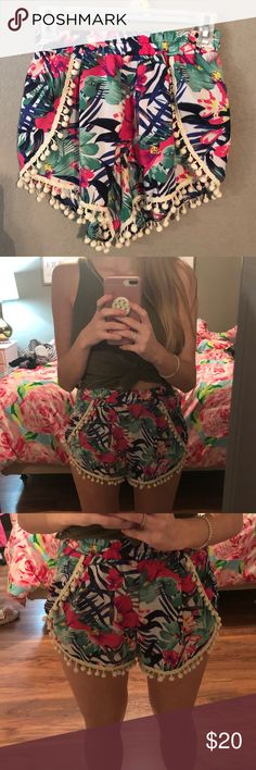 Floral Pom Pom Shorts- Worn Once- Size Small! literally the most perfect pair of shorts for this summer!! sooo cute and fun! the pom poms are the perfect touch. size small! elastic waist band. only worn one time for like an hour! new condition. please let me know if you have any questions! Shorts