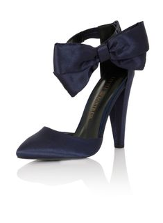 **Little Mistress Navy Satin Bow Heels Navy Blue Pumps, Navy Heels, Bow Heels, Navy Blue Wedding Shoes, Office Fashion Women, Wedding Heels, Prom Shoes, Satin Bows, Fashion Shoes